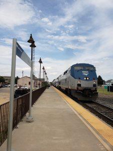 Train on a platform